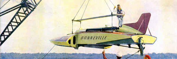 Bonneville speedboat on crane in air