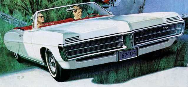 1967 Grand Prix convertible, white (drawing)